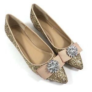 Crown & Ivy Gold Glitter Pointed Rhinestone Flats
